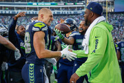 Tight end Jimmy Graham #88 of the Seattle Seahawks celebrates with teammates after scoring the winning touchdown to beat the Houston Texans 41-38 at CenturyLink Field on October 29, 2017 in Seattle, Washington.