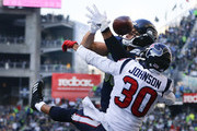 Tight end Jimmy Graham #88 of the Seattle Seahawks can't bring in an end zone pass against cornerback Kevin Johnson #30 of the Houston Texans during the third quarter of the game at CenturyLink Field on October 29, 2017 in Seattle, Washington.