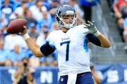 Blaine Gabbert #7 of the Tennessee Titans throws a pass against the Houston Texans at Nissan Stadium on September 16, 2018 in Nashville, Tennessee.