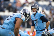 Ryan Tannehill #17 of the Tennessee Titans warms up before the game against the Houston Texans at Nissan Stadium on December 15, 2019 in Nashville, Tennessee.