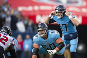 Ryan Tannehill #17 of the Tennessee Titans calls to teammates from under center against the Houston Texans during the first quarter at Nissan Stadium on December 15, 2019 in Nashville, Tennessee.