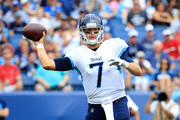 Blaine Gabbert #7 of the Tennessee Titans throws a pass during the fourth quarter at Nissan Stadium on September 16, 2018 in Nashville, Tennessee.