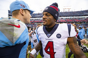 Ryan Tannehill #17 of the Tennessee Titans shakes hands with Deshaun Watson #4 of the Houston Texans after the game at Nissan Stadium on December 15, 2019 in Nashville, Tennessee. Houston defeats Tennessee 24-21.