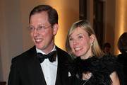 Bernhard von Baden (L) and his wife Stephanie arrives for the Hubert Burda Birthday Reception at Munich royal  palace on February 12, 2010 in Munich, Germany.