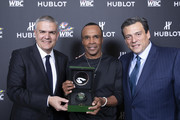 "In this handout image provided by Hublot Ricardo Guadalupe, Sugar Ray Leonard and Mauricio Sulaiman attend the Hublot x WBC ""Night of Champions"" Gala at the Encore Hotel on May 03, 2019 in Las Vegas, Nevada."