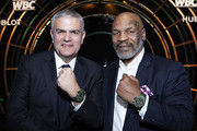 "In this handout image provided by Hublot, Ricardo Guadalupe and MIke Tyson attend the Hublot x WBC ""Night of Champions"" Gala at the Encore Hotel on May 03, 2019 in Las Vegas, Nevada."