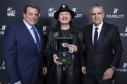 "In this handout image provided by Hublot Ricardo Guadalupe (R), Mauricio Sulaiman (L) and Carlos Santana attend the Hublot x WBC ""Night of Champions"" Gala at the Encore Hotel on May 03, 2019 in Las Vegas, Nevada."