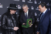"In this handout image provided by Hublot Ricardo Guadalupe (C), Mauricio Sulaiman (R) and Carlos Santana attend the Hublot x WBC ""Night of Champions"" Gala at the Encore Hotel on May 03, 2019 in Las Vegas, Nevada."