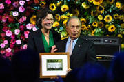 Hudson River Park Friends Trust Board Chair Diana L. Taylor and Michael Bloomberg pose onstage during the Hudson River Park Annual Gala at Cipriani South Street on October 17, 2019 in New York City.