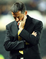 Phil Brown, manager of Hull City looks dejected during the Carling Cup Third Round match between Hull City and Everton at the KC Stadium on September 23, 2009 in Hull, England.
