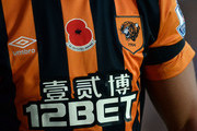 A poppy printed on the shirt of Hatem Ben Arfa of Hull City during the Premier League Football match between Hull City and Southampton at KC Stadium on November 1, 2014 in Hull, England.