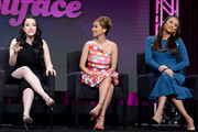 (L-R) Kat Dennings, Brenda Song and Shay Mitchell speak onstage during the Hulu 2019 Summer TCA Press Tour at The Beverly Hilton Hotel on July 26, 2019 in Beverly Hills, California.