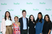 (L-R) Jordan Weiss, Brenda Song, Hulu SVP Originals Craig Erwich, Kat Dennings, Shay Mitchell, and Stephanie Laing attend the Hulu 2019 Summer TCA Press Tour at The Beverly Hilton Hotel on July 26, 2019 in Beverly Hills, California.