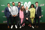 """(L-R) Director, Head of Comedy Originals at Hulu Billy Rosenberg, Ian Owens, Luka Jones, Aidy Bryant, John Cameron Mitchell, Lolly Adefope, and SVP of Originals, Hulu Craig Erwich attend Hulu's """"Shrill"""" New York Premiere at Film Society of Lincoln Center - Walter Reade Theater on March 13, 2019 in New York City."""