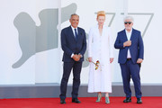 """(L-R) Director of 77 Mostra Internazionale d'Arte Cinematografica Alberto Barbera, Tilda Swinton and Director Pedro Almodóvar walk the red carpet ahead of the movie """"The Human Voice"""" and """"Quo Vadis, Aida?"""" at the 77th Venice Film Festival at  on September 03, 2020 in Venice, Italy."""