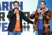 """Lin-Manuel Miranda (L) and Ben Platt perform """"Found/Tonight"""" during the March for Our Lives rally on March 24, 2018 in Washington, DC. Hundreds of thousands of demonstrators, including students, teachers and parents gathered in Washington for the anti-gun violence rally organized by survivors of the Marjory Stoneman Douglas High School shooting on February 14 that left 17 dead. More than 800 related events are taking place around the world to call for legislative action to address school safety and gun violence."""