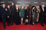 "(L-R) Jon Kilik, Josh Hutcherson, Liam Hemsworth, Jennifer Lawrence, Julianne Moore, Nina Jacobson, Patina Miller, Jena Malone, Natalie Dormer and Donald Sutherland atttend ""The Hunger Games: Mockingjay- Part 2"" New York Premiere at AMC Loews Lincoln Square 13 theater on November 18, 2015 in New York City."