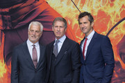 (L-R) Rob Friedman (Co-Chairman Lionsgate), Jon Feltheimer (CEO Lionsgate) and Erik Feig (Co-President Lionsgate) attend the world premiere of the film 'The Hunger Games: Mockingjay - Part 2' at CineStar on November 4, 2015 in Berlin, Germany.