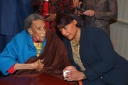 "Amelia Boynton Robinson and Bernice King attend the reception honoring the 50th anniversary of the ""Selma to Montgomery"" March at Rosa Parks Library Museum on March 6, 2015 in Montgomery, Alabama."