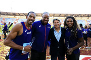 (L-R) Christian Taylor, Team Americas Ambassador, Mike Powell, IAAF President Sebastian Coe and Caterine Ibarguen pose for a photo following day two of the IAAF Continental Cup at Mestsky Stadium on September 9, 2018 in Ostrava, Czech Republic.
