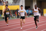 (L to R) Ryota Yamagata of Japan, Yoshihide Kiryu of Japan and Justin Gatlin of the United States compete in the Men's 100m during the IAAF Golden Grand Prix at Yanmar Stadium Nagai on May 20, 2018 in Osaka, Japan.