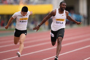 Justin Gatlin (R) of the United States crosses the finish line to win the Men's 100m during the IAAF Golden Grand Prix at Yanmar Stadium Nagai on May 20, 2018 in Osaka, Japan.