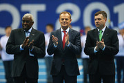 Donald Tusk (C), Prime Minister of Poland applauds with Lamine Diack (L), IAAF President and Jacek Karnowski (L), Mayor of Sopot during the Opening Ceremony on day one of the IAAF World Indoor Championships at Ergo Arena on March 7, 2014 in Sopot, Poland.