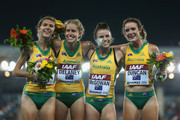 (L-R) Zoe Buckman, Bridey Delaney, Brittany McGowan and Melissa Duncan of Australia pose together on the podium after taking third place in the Women's 4x1500 metres relay final during day one of the IAAF World Relays at the Thomas Robinson Stadium on May 24, 2014 in Nassau, Bahamas.