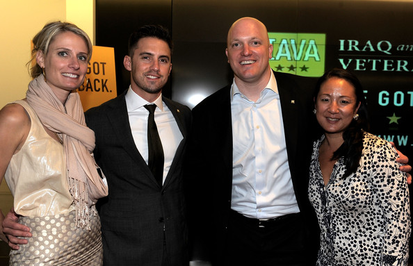 Actor Milo Ventimiglia (2ndL) and IAVA Founder & Executive Director Paul Rieckhoff (2ndR) attend IAVA's Second Annual Heroes Celebration held at CAA on April 29, 2010 in Los Angeles, California.