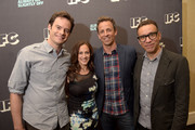Creators Bill Hader, Seth Meyers and Fred Armisen of Documentary Now! pose with IFC president Jennifer Caserta at the IFC summer 2015 TCA Panel at The Beverly Hilton Hotel on July 31, 2015 in Beverly Hills, California.