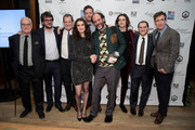 """Director Luca Guadagnino and actress Rachel Weisz pose with the  cast of """"Call Me By Yout Name"""" with their award for Best Feature Film during IFP's 27th Annual Gotham Independent Film Awards on November 27, 2017 in New York City."""