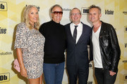 (L-R) Parky Fonda, actor Peter Fonda, IMDb founder and CEO Col Needham, and Vice President of Amazon Studios Roy Price attend IMDb's 25th Anniversary Party co-hosted by Amazon Studios presented by VISINE at Sunset Tower Hotel on October 15, 2015 in West Hollywood, California.