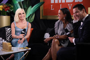Donatella Versace, Aisha Tyler and Dave Karger speak onstage at IMDb LIVE Presented By M&M'S At The Elton John AIDS Foundation Academy Awards Viewing Party on February 09, 2020 in Los Angeles, California.