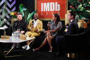 Bobby Berk, Karamo Brown, Aisha Tyler and Dave Karger speak onstage at IMDb LIVE Presented By M&M'S At The Elton John AIDS Foundation Academy Awards Viewing Party on February 09, 2020 in Los Angeles, California.
