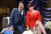 Actors Jason Ritter (L) and Melanie Lynskey attend IMDb LIVE Viewing Party, presented by OREO chocolate candy bar on February 26, 2017 in Hollywood, California.