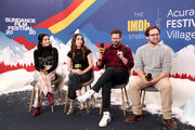 (L-R) Camila Mendes, Cristin Milioti, Andy Samberg, and Max Barbakow of 'Palm Springs' attend the IMDb Studio at Acura Festival Village on location at the 2020 Sundance Film Festival – Day 2 on January 25, 2020 in Park City, Utah.