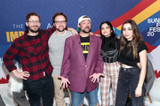 Andy Samberg, Max Barbakow, Camila Mendes, Cristin Milioti of 'Palm Springs' and Kevin Smith (C) attend the IMDb Studio at Acura Festival Village on location at the 2020 Sundance Film Festival – Day 2 on January 25, 2020 in Park City, Utah.