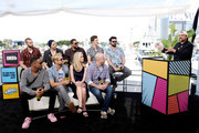 (L-R) Jessie T. Usher, Chase Crawford, Anthony Starr, Tomer Kapon, Erin Moriarty, Laz Alonso, Eric Kripke, Jack Quaid, Karl Urban and Kevin Smith speak onstage at the #IMDboat at San Diego Comic-Con 2019: Day Two at the IMDb Yacht on July 19, 2019 in San Diego, California.