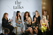 (Top row L-R) Moderator Lisa Benson, VP of IMG models, Ping Hue, Ashley Moore, Hannah Ferguson, Caroline Lowe, (Bottom row L-R) Nadine Leopold, Shanina Shaik and Devon Windsor on stage at The Talks: Meet the Model Squad during New York Fashion Week: The Shows 2018 at Spring Studios on September 10, 2018 in New York City.