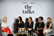 SVP of North America Marketing at Visa, Mary Ann Reilly, Founder & Creative Director of Brother Veillies, Aurora James, IMG model, Founder, Tropic of C, Candice Swanepoel, SVP Credit Card Products Management, Wells Fargo, Heather Philp and Co- Founder and CEO of Jetblack, Jenny Fleiss speak onstage during THE TALKS: FASHION IS CHANGING sponsored by VISA ? featuring real talk from female thought leaders in Fashion & Finance, together fostering a culture for change, Moderated by: Mary Ann Reilly (SVP, North America Marketing, Visa); along with Aurora James (Founder & Creative Director, Brother Vellies); Candice Swanepoel (IMG Model & Founder, Tropic of C), Jenny Fleiss (Co-founder & CEO, Jetblack), Heather Philp, SVP Credit Card Products Management, Wells Fargo at IMG NYFW: The Shows 2018  at Spring Studios on September 7, 2018 in New York City.