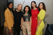 (L-R) IMG Model & UNICEF Ambassador, Halima Aden, Designer Jason Wu, Designer Kim Shui, IMG Model and Beauty Entrepreneur, Lily Aldridge and Actress Luna Blaise pose before the 'Meet E!'s Front Five' panel. Presented by VISA during NYFW: The Shows at Spring Studios on September 06, 2019 in New York City.