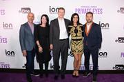 Marc Zand Content Ion, Executive Vice President  Marketing at ION Media Networks Chris Addeo,  Chairman and Chief Executive Officer of ION Media Brandon Burgess, Actress Cindy Sampson and Actor Jason Priestley arrive at the ION Television Private Eyes Launch Event on February 8, 2018 in New York City.