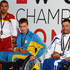 Dmytro Vynohradets Photos - Medal Winners for the Men's 200m Freestyle S3 (l-r) Miguel Angel Martinez Tajuelo of Spain (silver), Dmytro Vynohradets of the Ukraine (gold) and Ionannis Kostakis of Greece (bronze) pose with their medals during IPC Swimming World Championships at Parc Jean Drapeau on August 12, 2013 in Montreal, Quebec, Canada. - IPC Swimming World Championships: Day 1