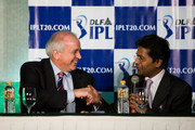 International Hockey Federation (FIH) President Leandro Negre (L) and Indian Premier League Chairman and Commissioner Lalit Modi (R) at a joint press conference with IPL and FIH on January 20, 2010 in Mumbai, India.