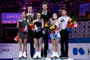 (L-R) Ksenia Stolbova and Fedor Klimov of Russia, Meagan Duhamel and Eric Radford of Canada, Wenjing Sui and Cong Han of China pose for the media during the medals ceremony during day three of the ISU Grand Prix of Figure Skating Final 2014/2015 at Barcelona International Convention Centre on December 13, 2014 in Barcelona, Spain.