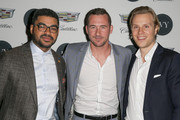 (L-R) Communications manager at General Motors / Cadillac Eneuri Acosta, actor Barry Sloane and IVY founder Philipp Triebel attend the IVY Los Angeles innovator dinner presented by Cadillac and IVY at A.O.C on April 15, 2015 in Los Angeles, California.