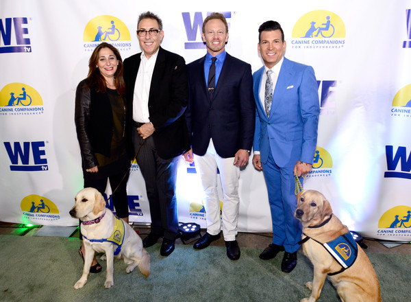 WE tv and Ian Ziering Raise Awareness For Canine Companions For Independence [dog,canidae,dog breed,yellow,sporting group,puppy,carnivore,kennel club,conformation show,ian ziering,lauren gellert,david tutera,vice president of development,marc juris,ian ziering raise awareness for canine companions for independence,programming,l-r,we tv,event]