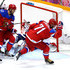 Ilya Kovalchuk #71 of Russia celebrates after scoring a goal in the second period against Lars Haugen #30 of Norway during the Men's Ice Hockey Qualification Playoff game on day eleven of the Sochi 2014 Winter Olympics at Bolshoy Ice Dome on February 18, 2014 in Sochi, Russia.