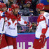 Ilya Kovalchuk Alexander Ovechkin Photos - Ilya Kovalchuk #71 of Russia celebrates with teammates Alexander Ovechkin #8 and Alexander Radulov #47 after scoring a first-period goal against Finland during the Men's Ice Hockey Quarterfinal Playoff on Day 12 of the 2014 Sochi Winter Olympics at Bolshoy Ice Dome on February 19, 2014 in Sochi, Russia. - Ice Hockey - Winter Olympics Day 12