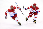 Ilya Kovalchuk #71 of Russia celebrates with teammate Alexander Ovechkin #8 after scoring a first-period goal against Finland during the Men's Ice Hockey Quarterfinal Playoff on Day 12 of the 2014 Sochi Winter Olympics at Bolshoy Ice Dome on February 19, 2014 in Sochi, Russia.